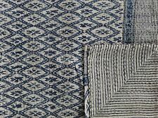 Indian Ikat Block Print Kantha Quilt Reversible Bedspread Indigo Cotton Ralli