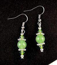 1 Natural Pair of Green Aventurine Gemstone Dangle Fashion Earrings - #82