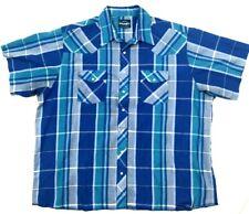 Wrangler Western Shirt Big Man 2Xl Blue Plaid Pearl Snap Short Sleeve Button Up