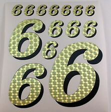 Racing Numbers Number 6 Decal Sticker Pack Gold Black for 1/8 1/10 RC models S01