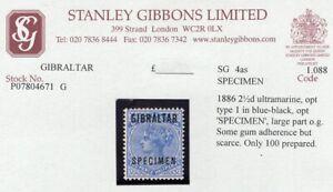 "1886 Gibraltar. SC#4. SG#4as. Mint, Hinged, VF. ""Specimen"" 100 Produced."