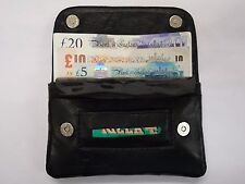 Leather Tobacco Pouch Organizer with Space for Money Black with Magnetic Button