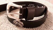 Men's Black Leather Belt with Horse Conchos 28 R