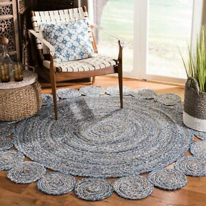 Round Bohemian Decor Indian Braided Jute Cotton Round Rug Boho Rug Gray 3x3 Feet