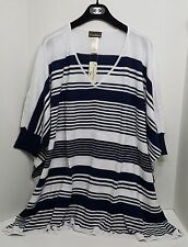 Tommy Bahama Swim Stripe Sweater Cover Up Sz L White/Navy i9