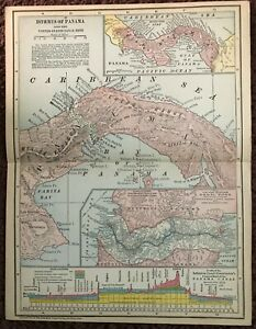 1907 Antique Isthmus of PANAMA Map Panama Canal & History Jones Brothers 13 x 10