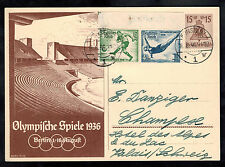 1936 Konstanz Germany Olympics Postcard Cover Stadium to Switzerland