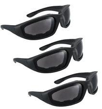 3 Pair Motorcycle Riding Sunglasses Smoke Black Lens Padded Comfortable, jetski