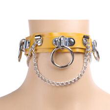 Sexy Choker Punk Goth Slave Collar Chain Belt Necklace Round Ring Yellow #ur