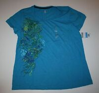 New Women's SB Active Short Sleeve Teal Blue Side Floral Print Top Size XL NWT
