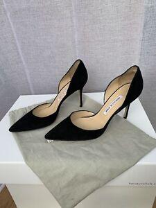 * MANOLO BLAHNIK * Classic D'orsay Style Heels Shoes Pumps Black Suede EU 39.5