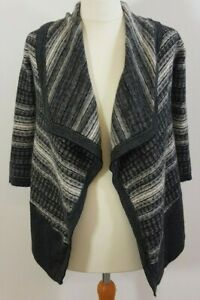 Karen Millen Monochrome Striped Merino Wool Waterfall Cardigan Size 3