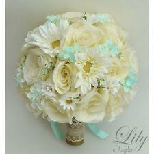 17 Piece Package Silk Flower Wedding Bridal Bouquet ROBIN'S EGG BLUE Rustic