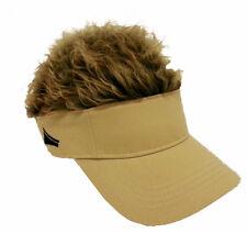 FLAIR HAIR HATS WITH HAIR KHAKI VISOR BROWN HAIR QUALITY SURF SNOW GOLF FISHING
