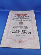 DURO INFORMATION BOOK CATALOGUE ELECTRIC ENGINE DRIVEN PUMPS WATER SYSTEMS