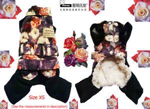 Ambaby Warm Floral XS Puppy Sweater Shirt Dog Coat Cat Dog Jumpsuit Pet Clothes