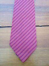 Vintage Bruno Molinaro Italy Striped 100% Italian Silk Red Preppy Schoolboy Tie