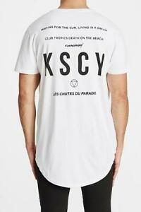 NEW Kiss Chacey Kiss Chacey MENS CHASE THE SUN DUAL CURVED HEM TEE - WHITE