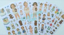 NEW! AFROCAT PAPER DOLL MATE DECO STICKER SET 6 PCS. BOY GIRL DOLL STICKERS USA