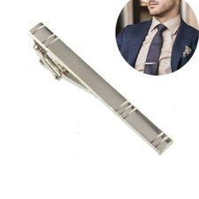 Premium Luxury Men's Wide Stainless Steel Silver Tie Clip Tight Hold Engraved