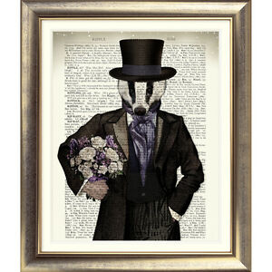 DICTIONARY ART PRINT ON ANTIQUE BOOK PAGE Animal BADGER VINTAGE Steampunk Wall