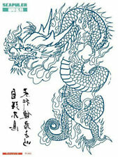 A4+ RIGHT BLUE DRAGON SCAPULER CHEST SHOULDER ARM HALF SLEEVE Temporary Tattoo