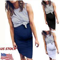 US Pregnant Women Maternity Nursing Breastfeeding Summer Sleeveless Short Dress