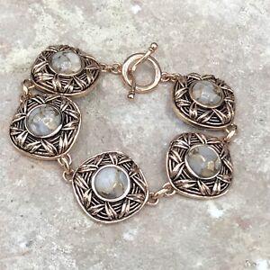 Barse Ava Toggle Bracelet- Bronze Infused Calcite & Copper- NWT