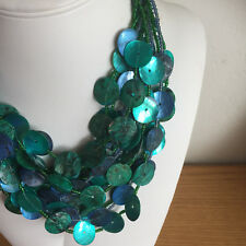 """New listing Chicos Seashell & Seed Bead Necklace Blues Greens Aqua Iridescent 17"""" to 21"""""""