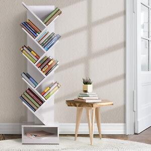 9 Tier Tree Bookshelf Display Shelf Rack Book Case Storage Stand Bookcase White