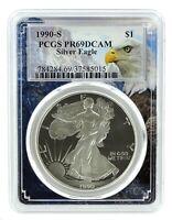 1990 S 1oz Silver Eagle Proof PCGS PR69 DCAM - Eagle Frame