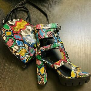 Liliana KUNST-2 Multi Color Faux Snake Chunky Heel Platform Ankle Bootie Boot