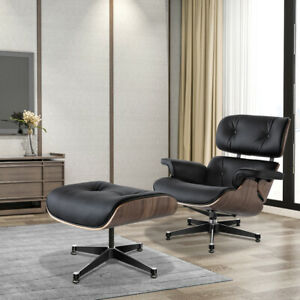 Walnut Black EAMS Lounge Chair & Footstool Real Leather Armchair Fit Living Room