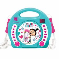 FLUFFY UNICORN DESPICABLE ME CD PLAYER WITH MICROPHONES CHILDRENS PORTABLE