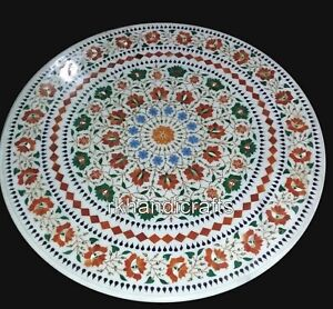 Round Shape Coffee Table Top with Floral Pattern Patio Sofa table for Home Decor