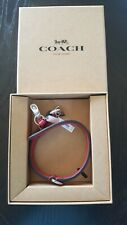 NWT NIB COACH SMALL LEATHER PET DOG COLLAR SILVER / RED with Charms F26177 $70