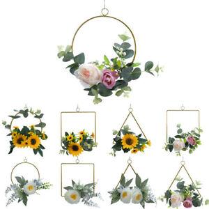 Artificial Rose Flower Wreath Hanging Silk Garland Wedding Home Party Decor UK
