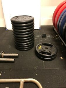 Rubber coated db weight plates. Plus Dumbells and tricep bar.