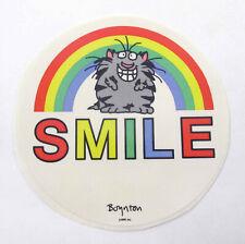 "Vintage 1980s 80s RPP Boynton Large 4"" Round Sticker Grinning Cat Rainbow Smile"