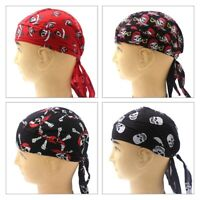 Men Durag Bandana Scarf Head Tie Down Band Cycling Biker Skull Cap Pirate Long18