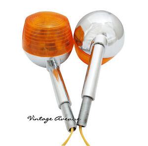 SUZUKI CHROME METAL TURN SIGNAL INDICATOR LAMP LIGHT BLINKER PAIR 6V/12V *TW11-1