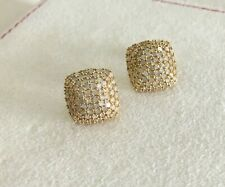 Sterling Silver Natural White Round Diamond Square Dome Stud Earrings 1.61 cts