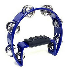 Tambourine Blue Hand Held with Double Row Metal Jingles Percussion DT