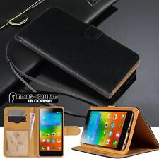 Black Flip Cover Stand Wallet Leather Case For Various Lenovo A Series Phones