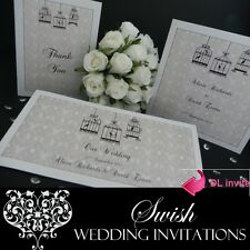 Love Birds on Beige Engagement Anniversary Wedding Invitations DL SAMPLE
