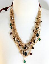 Aldo Red Green Rhinestone Crystal Multi Layer Link Chain Gold Statement Necklace