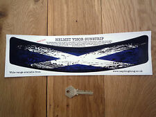 Scottish Saltire Usado distrssed Casco Visor sunstrip Etiqueta Auto Moto Bandera