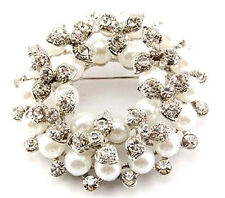 Stylish & Elegant Silver Base Cream Pearls & White Crystals Brooch Pins BR42