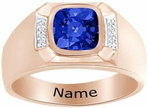 Cushion Simulated Blue-Sapphire Personalised Engravable Men's Band Ring Silver