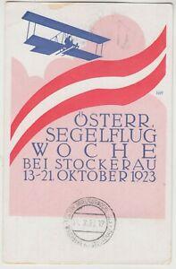 1923 Österr Segelflug Woche Bei Stockerau (Austrian glider week) official card